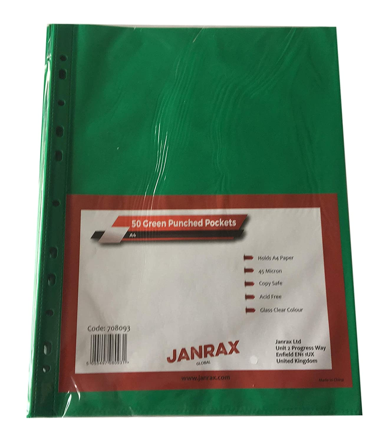 Clear Pack of 50 A4 Coloured Clear Punched Pockets by Janrax