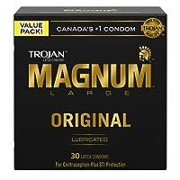 TROJAN Magnum Large Size Lubricated Latex Condoms, 30 Count