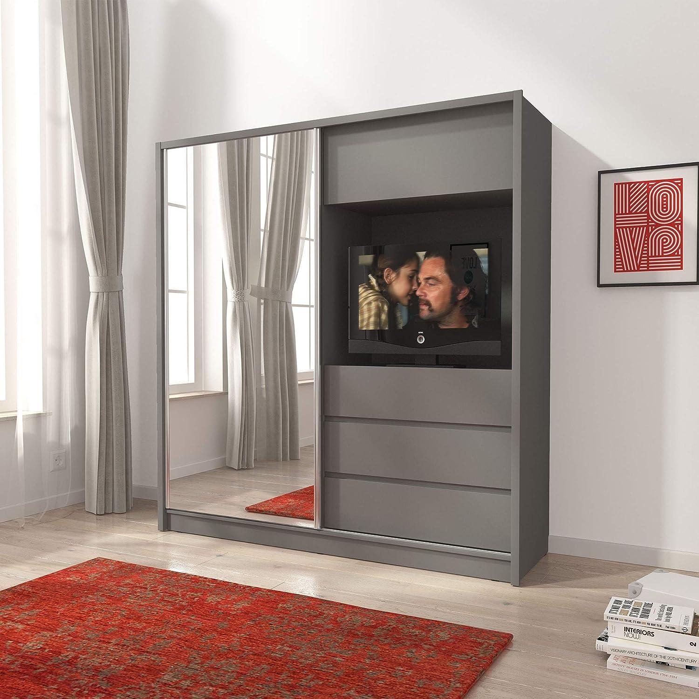 PSK BMF TV200 Grey - Armario moderno con puertas correderas de 200 cm de ancho con espejo y espacio para TV: Amazon.es: Hogar