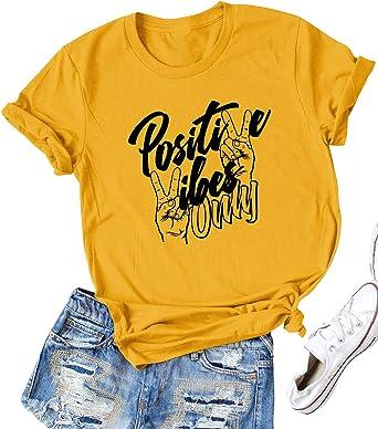 Dresswel Camiseta Mujer Manga Corta Cuello Redondo Positive Vibes Only Letra Estampada Blusa Camisa Básica Suelto Verano Tops: Amazon.es: Ropa y accesorios