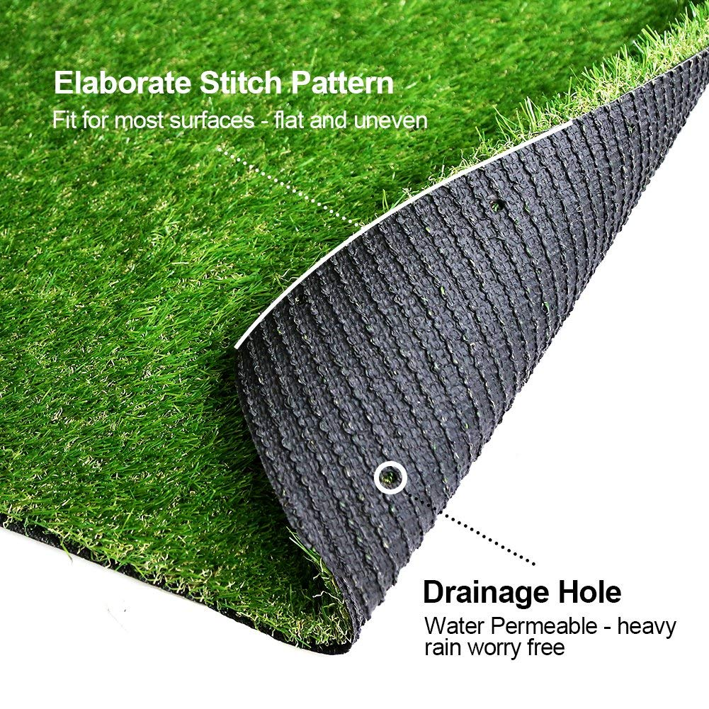 7.7 Square FT 28 in x 40 in Realistic Deluxe Artificial Grass Synthetic Thick Lawn Turf Carpet -Perfect for Indoor//Outdoor Landscape