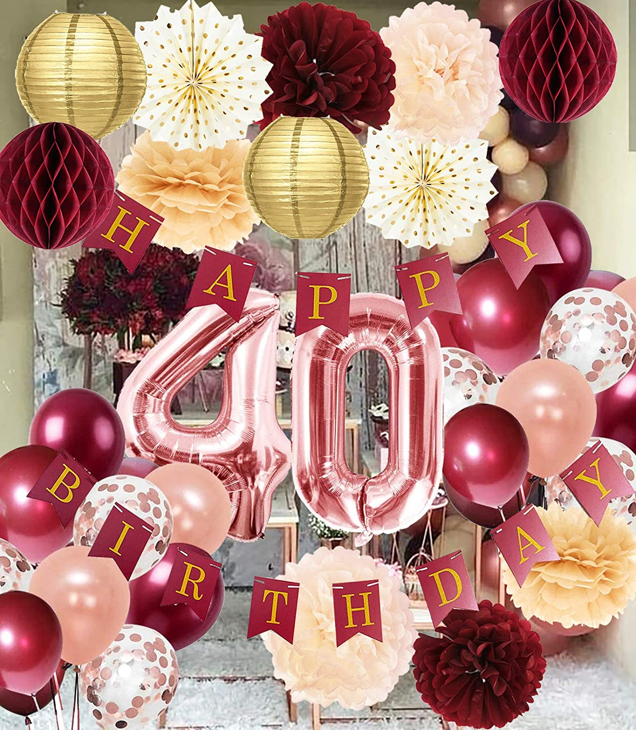 Amazon Com 40th Birthday Decorations For Women Burgundy Rose Gold Birthday Party Decorations Polka Dot Fans 40th Birthday Balloons Fall Burgundy Rose Gold 40 Birthday Decorations Autumn Toys Games