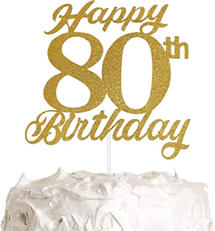 Pleasing Amazon Com 80Th Birthday Cake Topper 80Th Happy Birthday Party Funny Birthday Cards Online Aboleapandamsfinfo