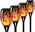 Otdair Solar Lights Outdoor Waterproof Dancing Flickering Flame Torch Lights Solar Spotlights Landscape Decoration Lighting Dusk to Dawn Auto On/Off Security Torches(4 Pack)