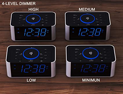 CKS910 Qi Wireless Charging Snooze,Bluetooth Dual Alarm iTOMA Alarm Clock Radio Dimmer LED Display,Non Ticking Clock for Bedside