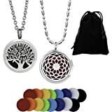 "2PCS Essential Oil Aromatherapy Diffuser Necklace Pendant Set – 2 Pattern Scent Lockets, 22"" & 28"" Adjustable Chains, 16 Refill Replacement Pads, Gift Bag 