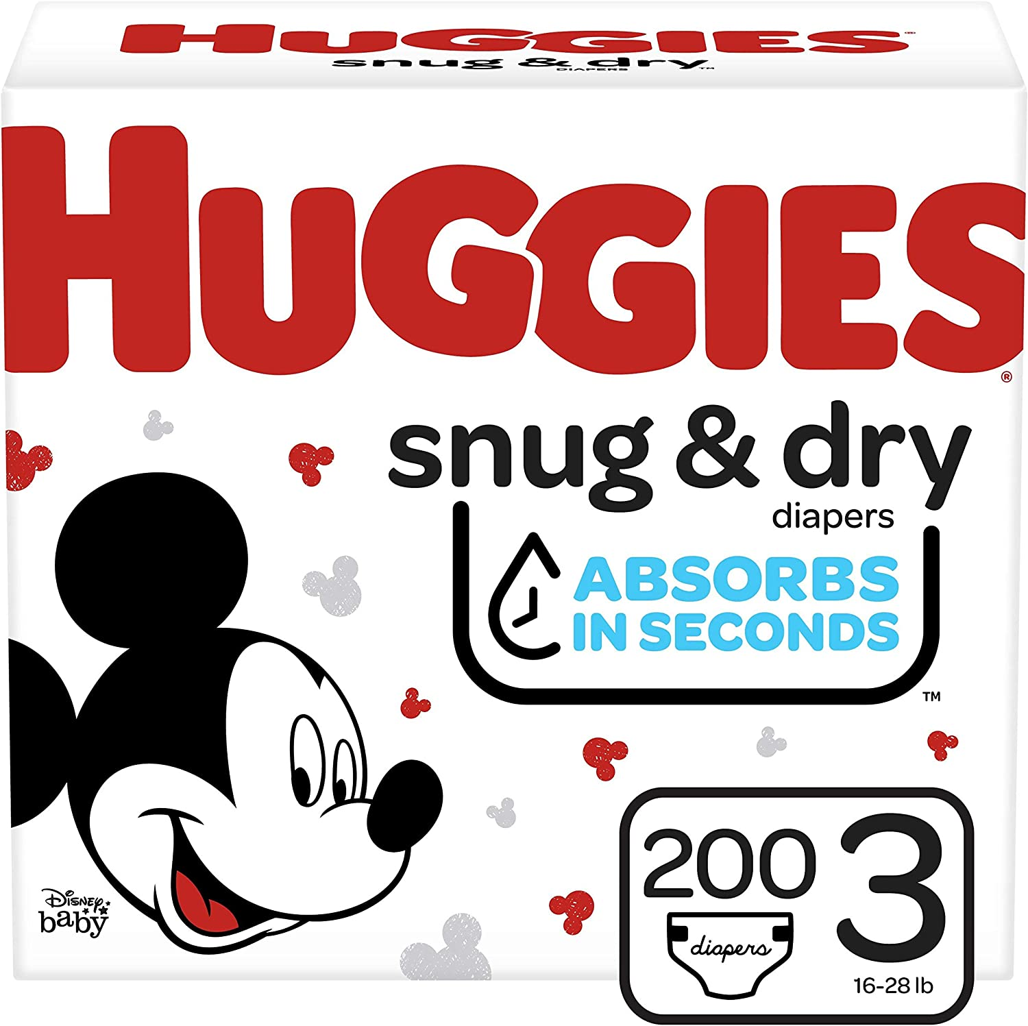 Huggies Snug & Dry Baby Diapers, Size 3, 200 Ct, One Month Supply