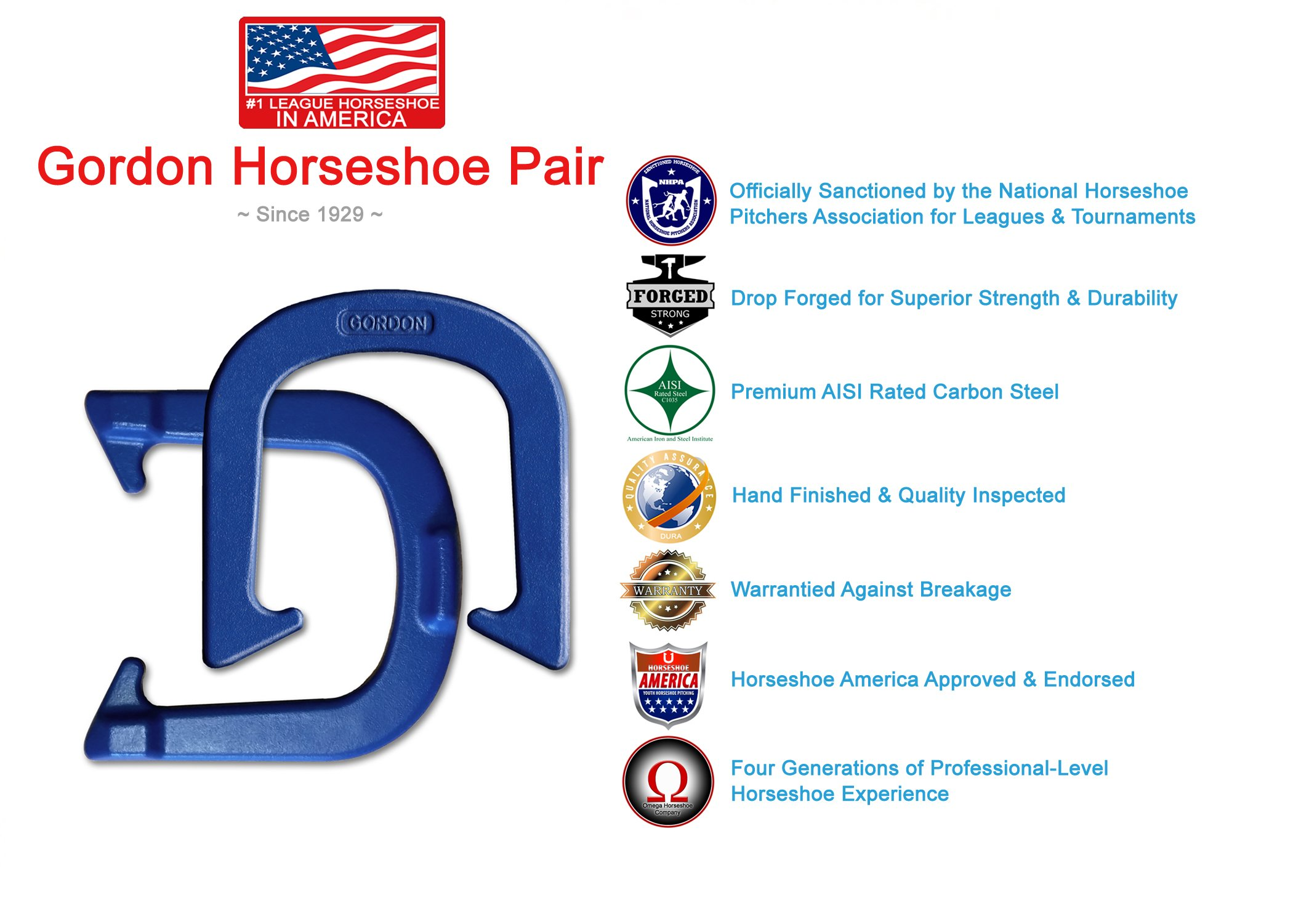 Gordon Professional Pitching Horseshoes - NHPA Sanctioned for Tournament Play - Drop Forged Construction - One Pair (2 Shoes) - Blue Finish - Medium Weight by Gordon Horseshoes