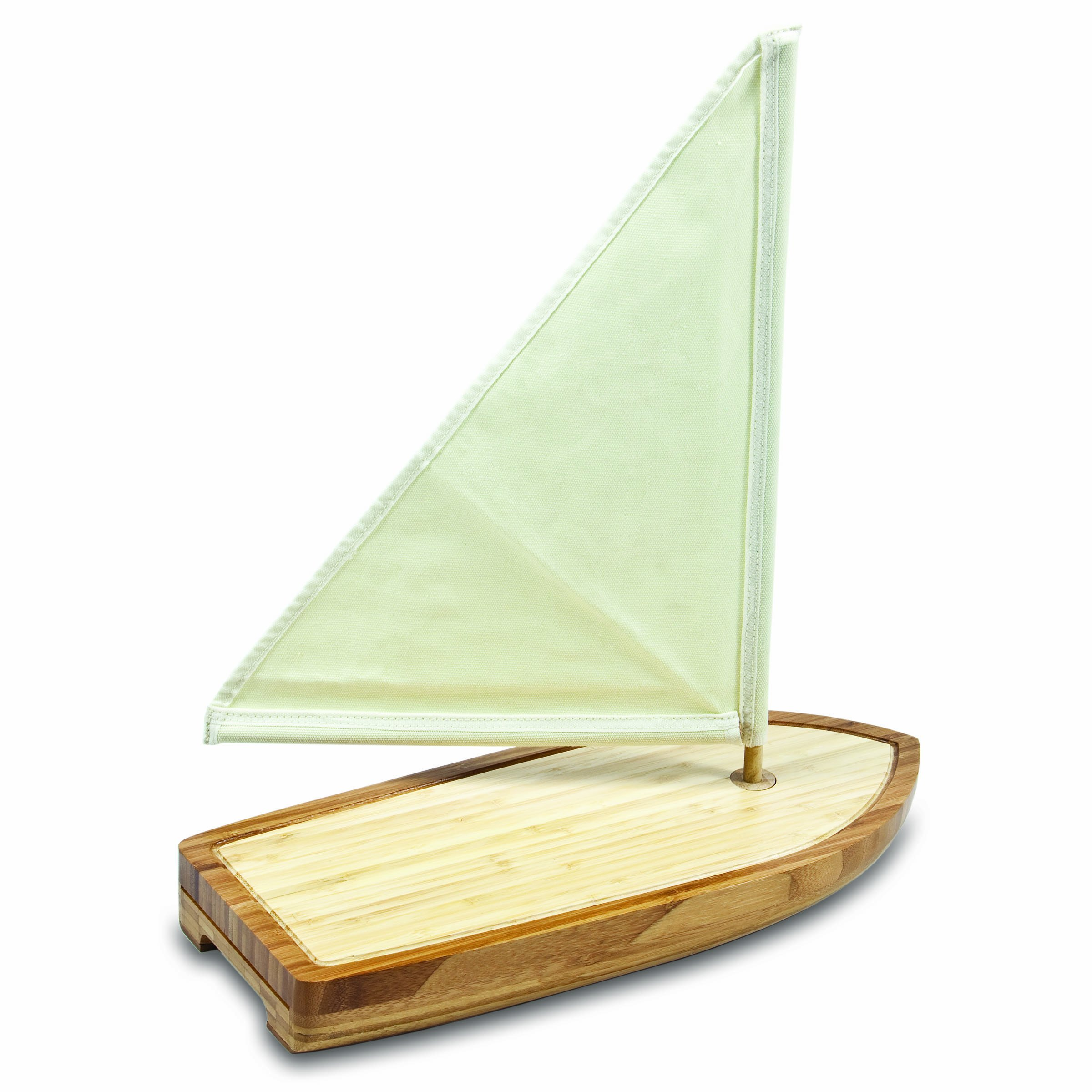 TOSCANA - a Picnic Time Brand Bamboo Sailboat Cheese Board and Tool Set