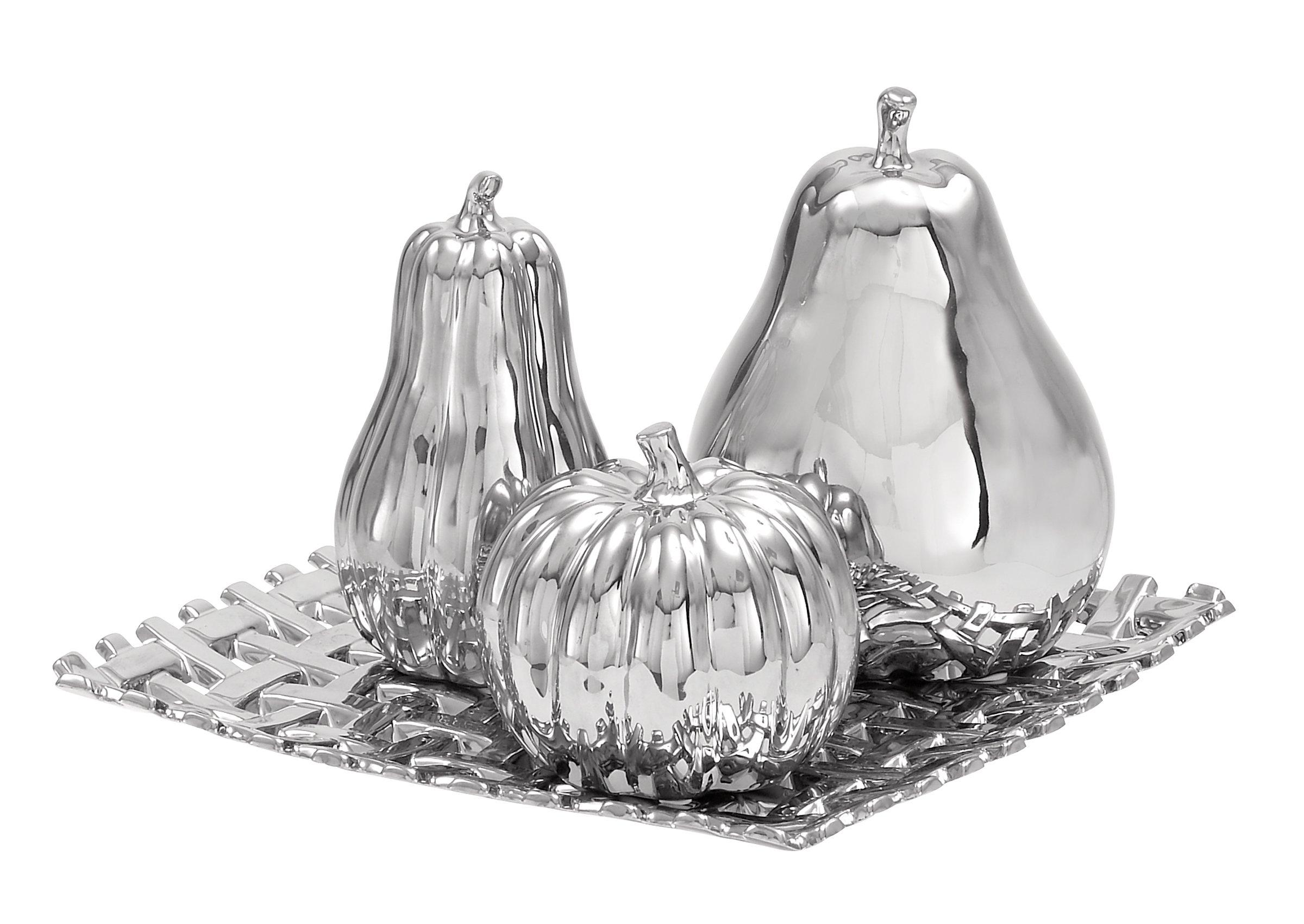 Deco 79 71689 Ceramic Plate W Fruit S/4 12'' W, 8'' H -