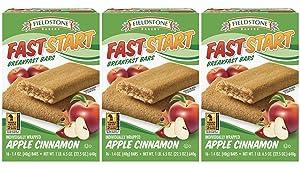 Fieldstone Bakery FastStart Apple Cinnamon Healthy Breakfast Bars, 3 Boxes, 48 Individually Wrapped Snacks