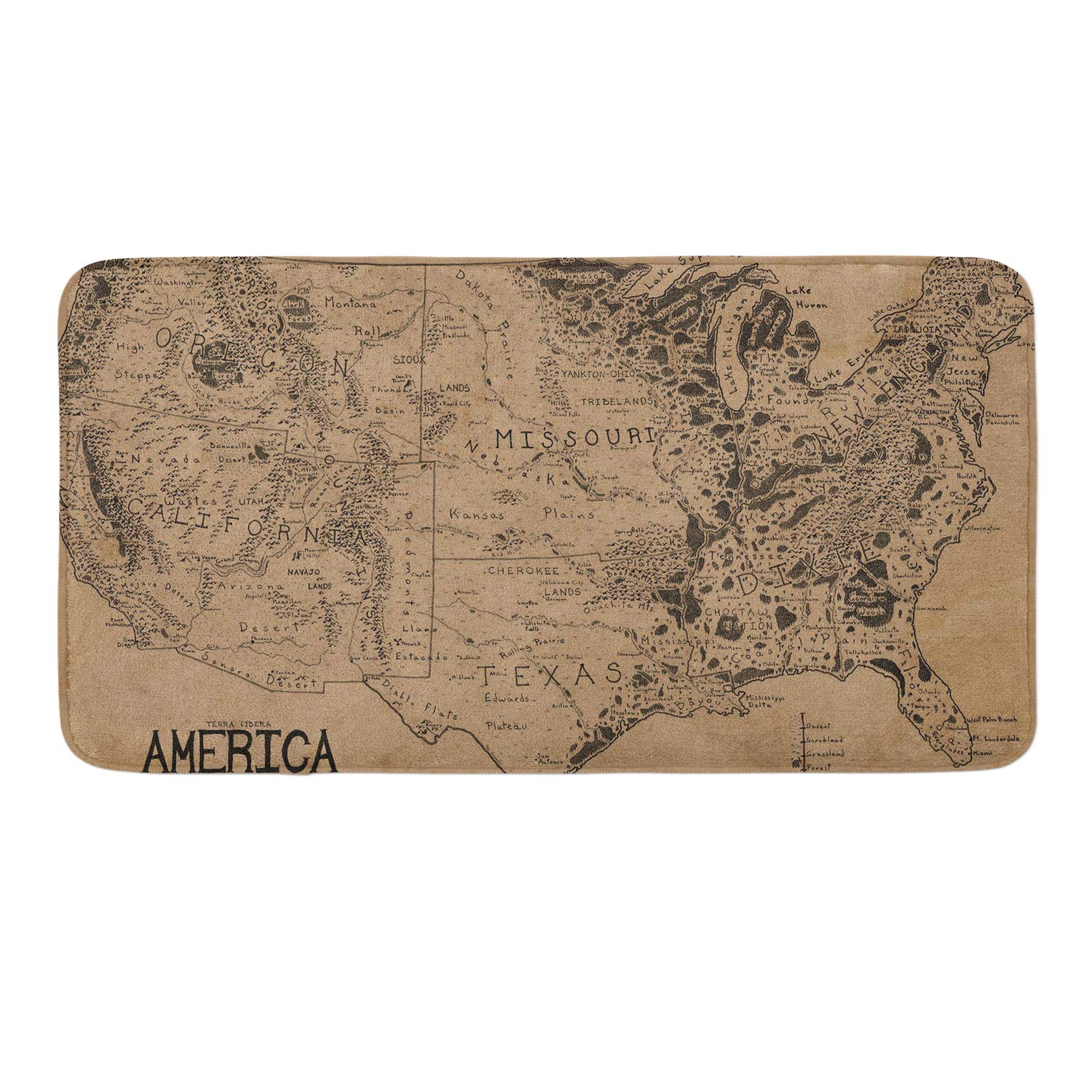 CIGOCI Memory Foam Non-Slip Bathroom Mat - 18 x 36 Inch, Extra Absorbent,Soft,Duarable and Quick-Dry Shaggy Mat, 3D PrintWorld Map by CIGOCI (Image #1)