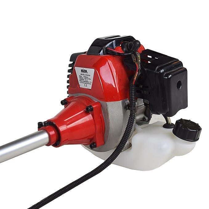 KUDA CN-520 Desbrozadora Motor de Gasolina, 2 tiempos, Barra Partida con 2 discos, cabezal metálico de hilo y cabezal de plástico, arnés, roja, ...