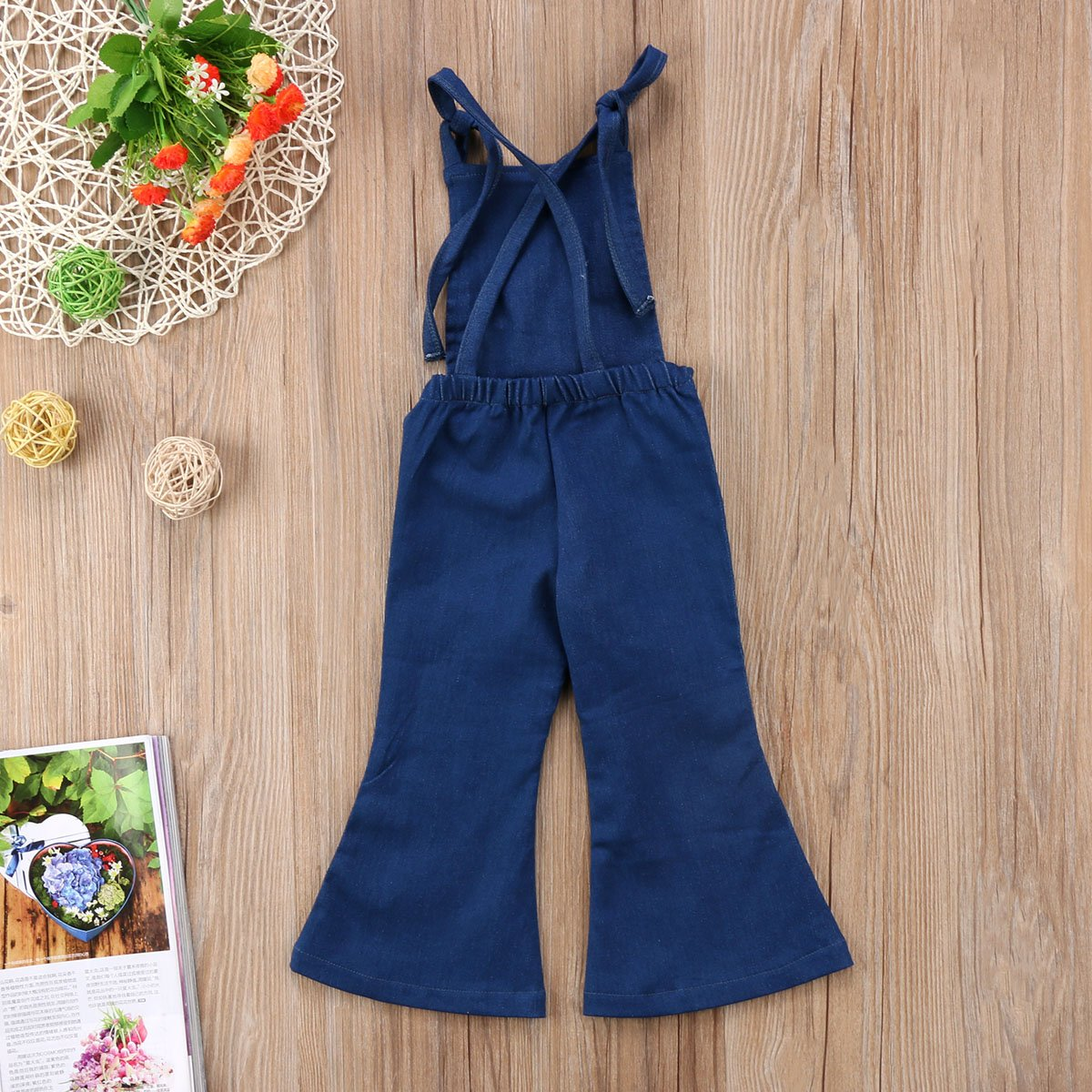 Pudcoco Baby Girls Little Kids Suspender Overall Flared Denim Jeans Jumpsuit Bell Elastic Blue Pants (Blue, 4-5T) by Pudcoco (Image #4)