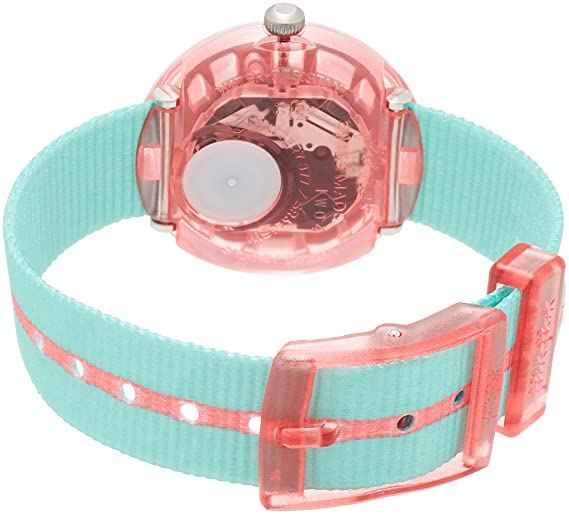 Amazon.com: Flik Flak Power Time Pink Band Green Fabric Strap Kids Watch FPNP020: Watches