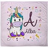 Manta Bebé Personalizada Unicornio Rosa con Nombre. Regalo Original. Recién Nacidos. Diferentes diseños