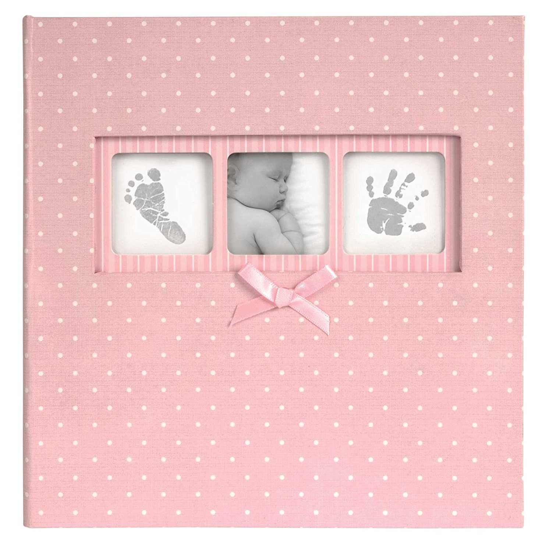 Innova Q4103612M - Album fotografico a pois per bambini con 200 tasche portafoto, colore: rosa INA0251