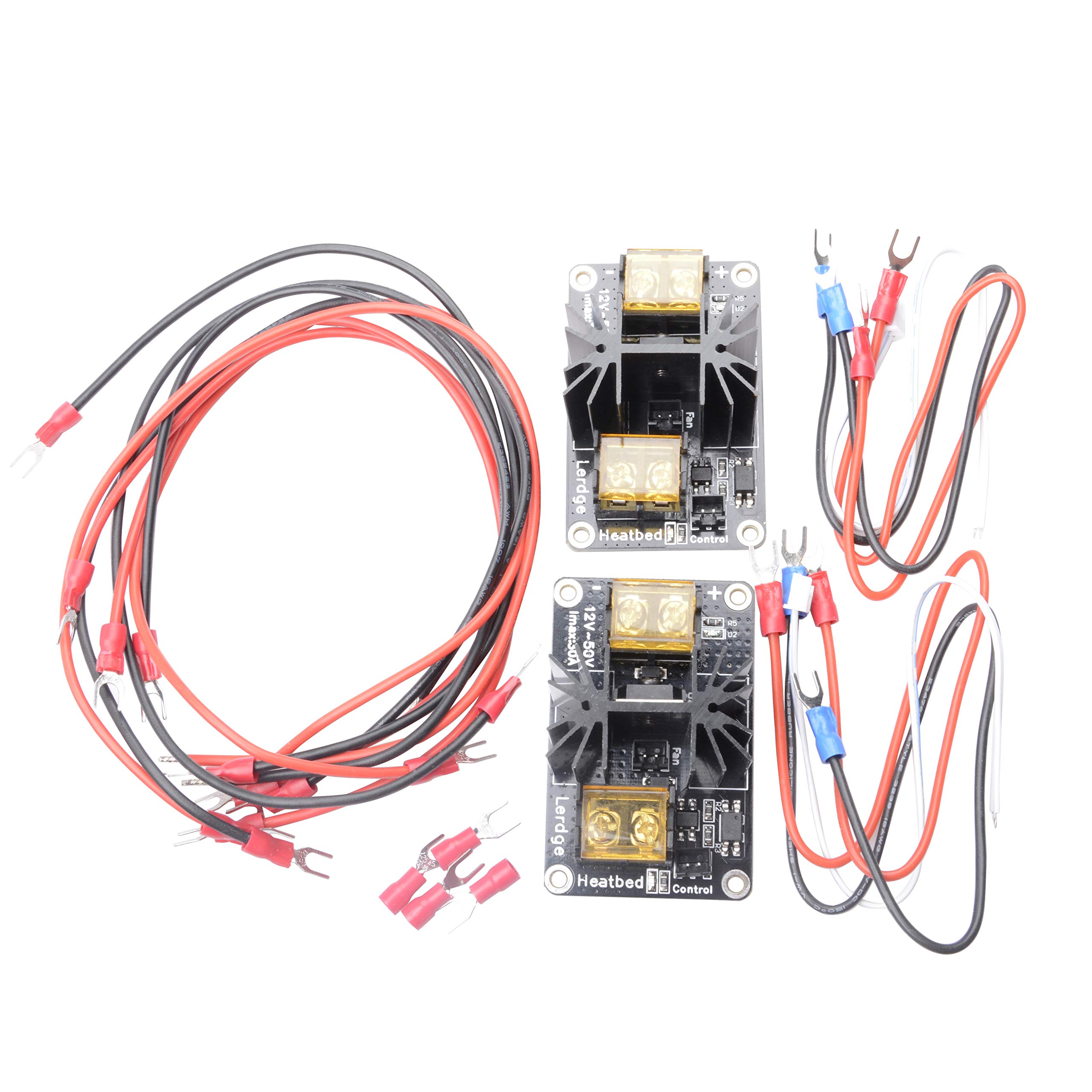 Qunqi 2Pcs 30A Add-on Heat Bed Power Module Expansion Board Mos Tube Hotend Replacement with Cables for 3D Printer