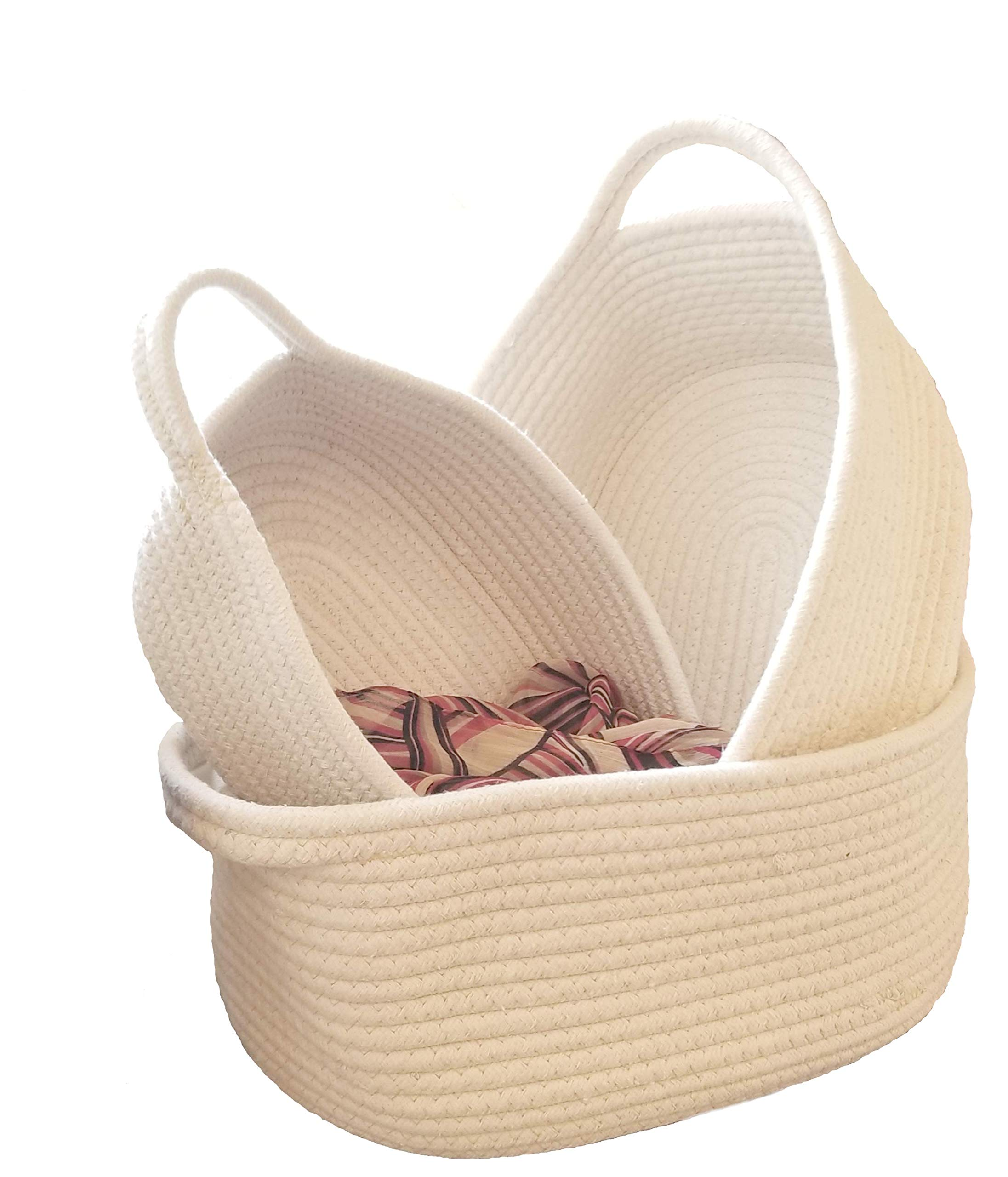 REM Concepts Woven Baskets, Cotton Rope Organizers and Storage Baskets with Handles - Set of 3 in S-M-L Sizes - Tidy Up Any Area - Neutral Color - Fits Any Home Decor!