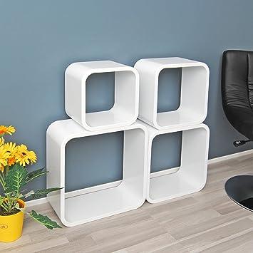 Hängeregal weiß  4er Set Lounge Cube Regal Design Retro Wandregal Regalwand ...