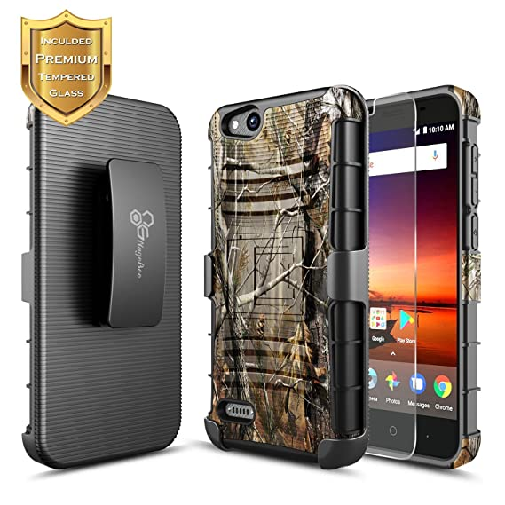NageBee [Heavy Duty] Shock Proof [Belt Clip] Holster[Kickstand Combo Case  w/ [Tempered Glass Screen Protector] for ZTE AVID (557), ZFive G/ZFive C