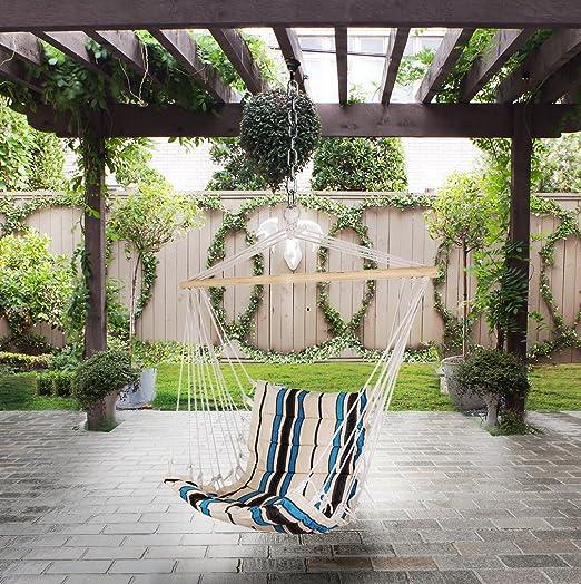 Holifine Hamaca Silla Colgante Jardin Silla de Algodón y Poliester de 100 x 50 cm para Interior o Exterior, Carga de 100 kg - Blanco: Amazon.es: Jardín