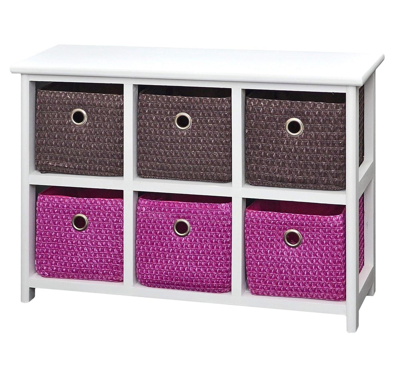 ts-ideen Cómodo armario con mesa de noche 62 x 43 cm estante de baño blanco con 2 x 3 coloridas cestas para habitación de niños, oficina, baño, salón ...