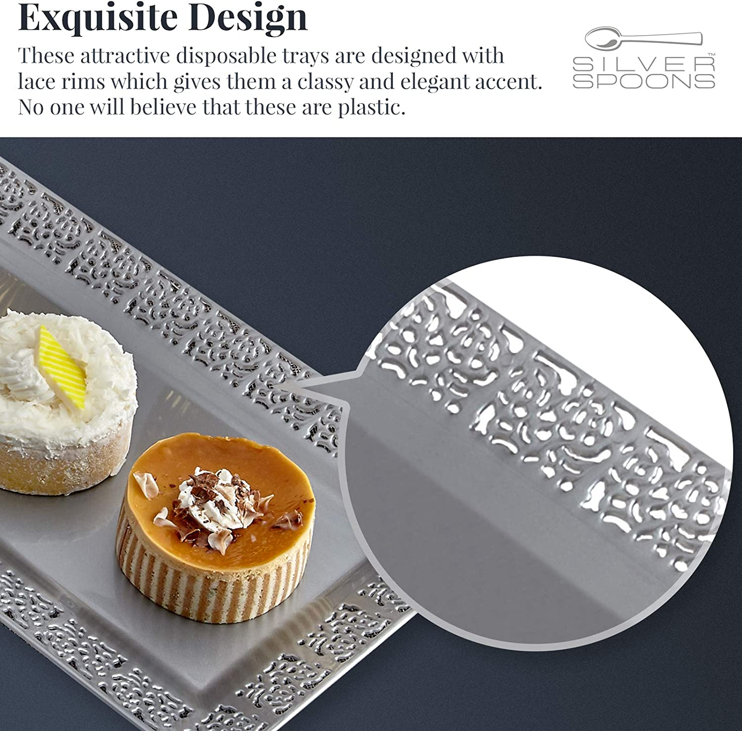 """6 pc for Upscale Wedding and Dining Ivory 14/"""" x 7.5/"""" DISPOSABLE LACE TRAYS"""