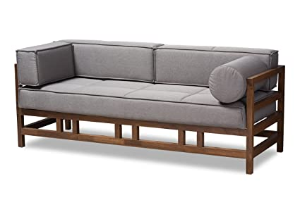 Baxton Studio Gavina Mid-Century Modern Grey Fabric Upholstered Walnut Wood  3-Seater Sofa