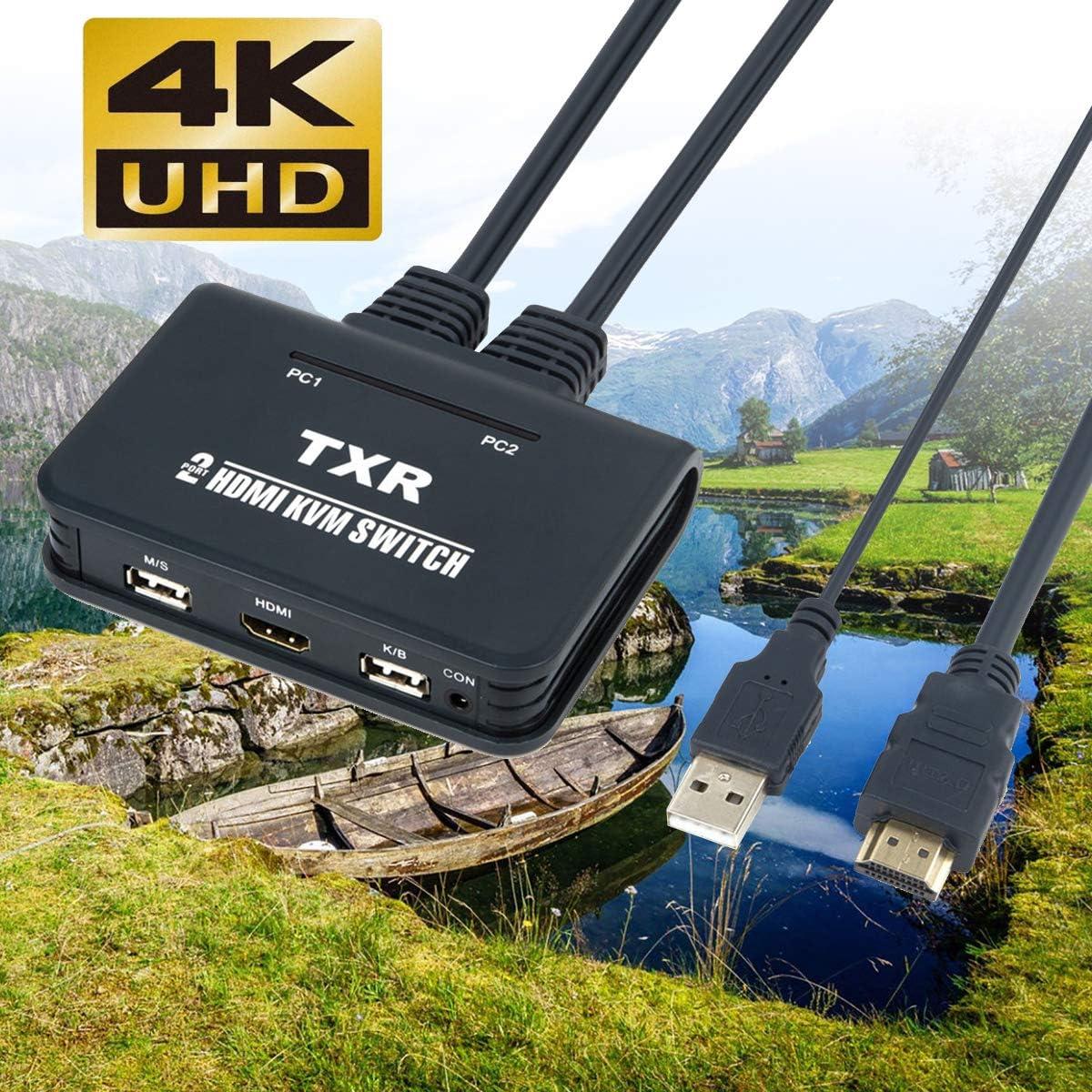XZANTE 2 Port HDMI KVM Switch with Cables EL-21UHC