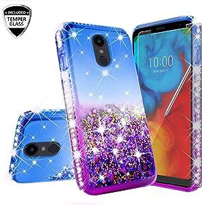 for LG Aristo 4+ Plus/Prime 2/ Escape Plus/LG K30 (2019)/ Arena 2/ Journey LTE Case Cute Girls Motion Glitter Liquid Bling Sparkle Protective Soft TPU Shockproof Cover+ Glass Screen (Blue/Purple)