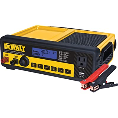 DEWALT DXAEC80 30 Amp Bench Battery Charger: 80 Amp Engine Start, 2 Amp Maintainer, 120V AC Outlet, 3.1A USB Port, Battery Clamps: Automotive