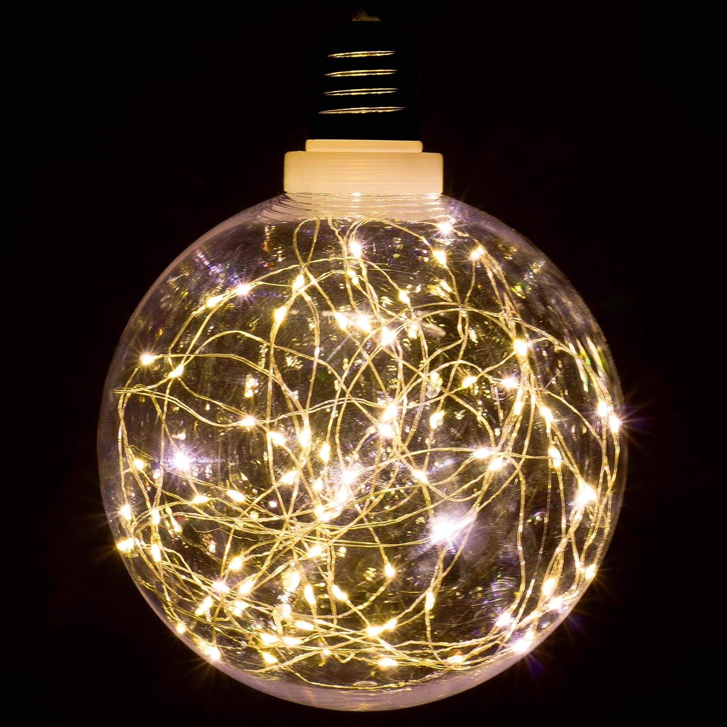 """80 LED warm wei/ß /Ø 20 cm Lichterkugel Leuchtball Batterie Timer Weihnachtsdeko Deckenleuchte Vintage Deko-Birne 2er Set Dekokugel /""""Gl/ühbirne/"""""""