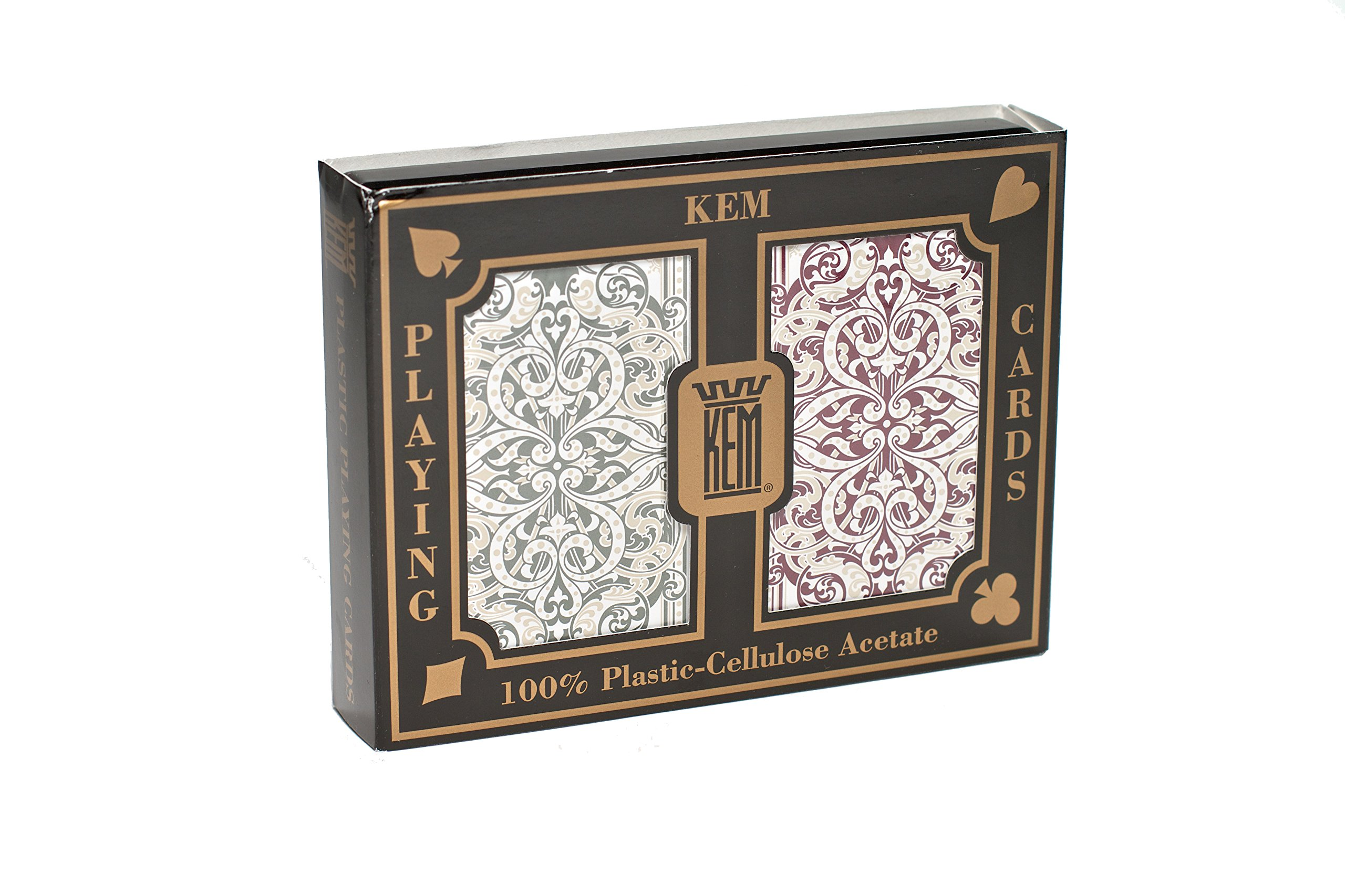KEM Jacquard Green and Burgundy, Bridge Size-Standard Index Playing Cards (Pack of 2)