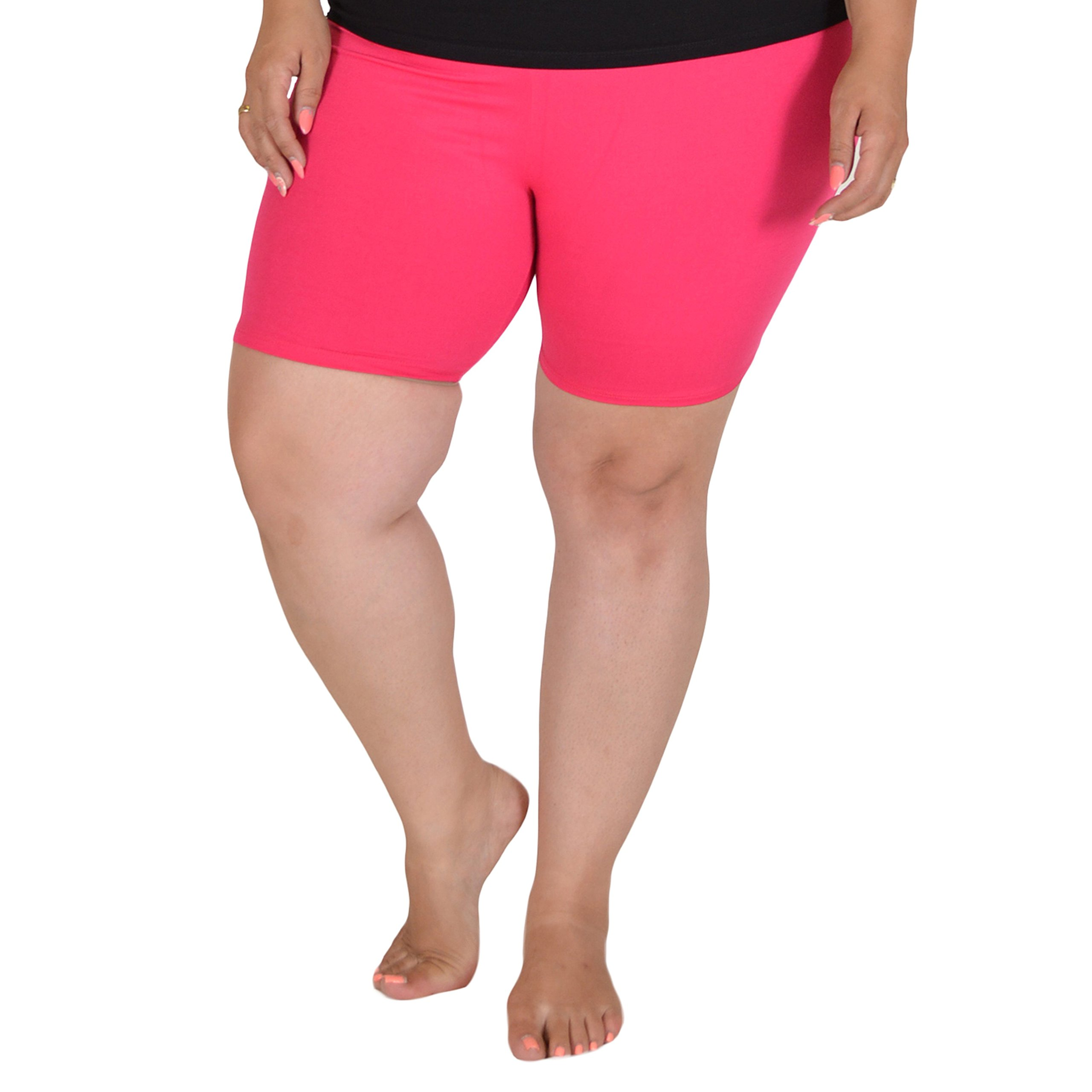 Stretch is Comfort Women's Cotton Plus Size Bike Shorts Hot Pink X-Large
