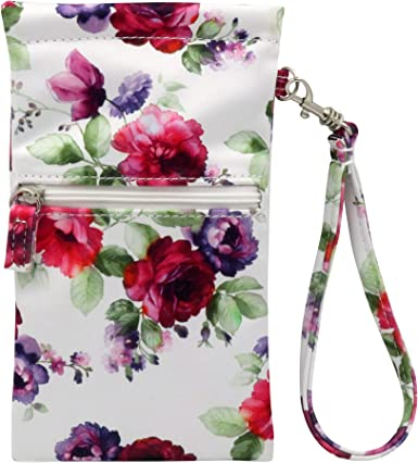 Pink Rose Small Bag with Smart Phone Spectacle Holder Long Cross Body Strap