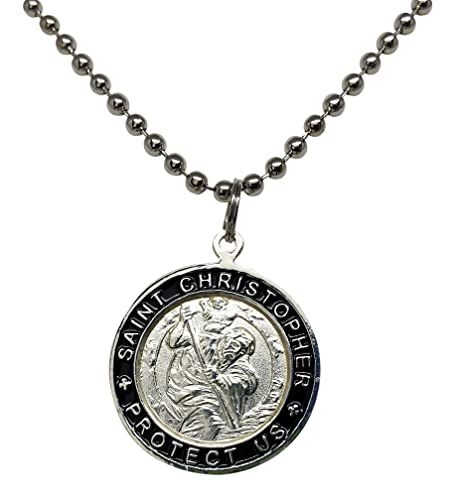 2e188bcef0467 St. Christopher Surf Necklace, Large Pendant, Silvertone Color with Black  Rim, 23 Inch Long Ball Chain