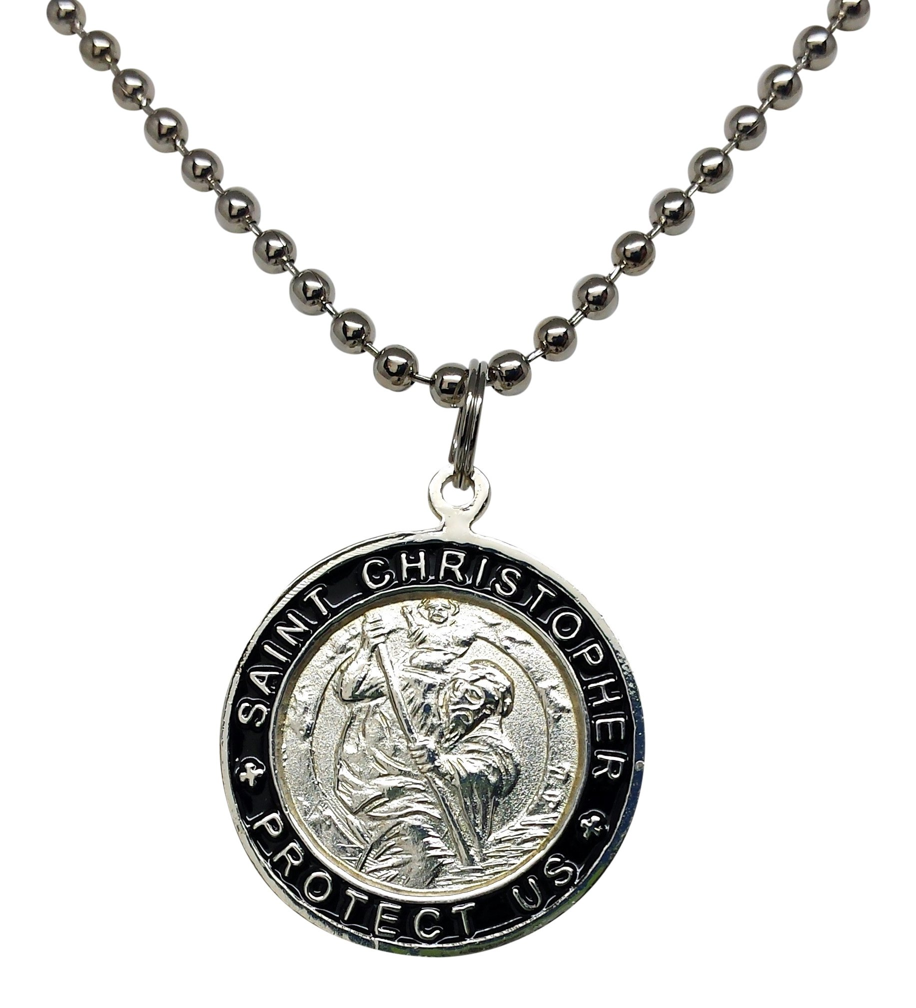 St. Christopher Surf Necklace, Large Pendant, Silvertone Color with Black Rim, 23 Inch Long Ball Chain