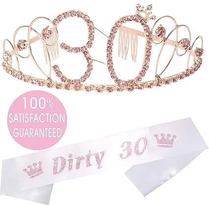 Amazon.com: Tiara y faja de oro de 30 cumpleaños ...