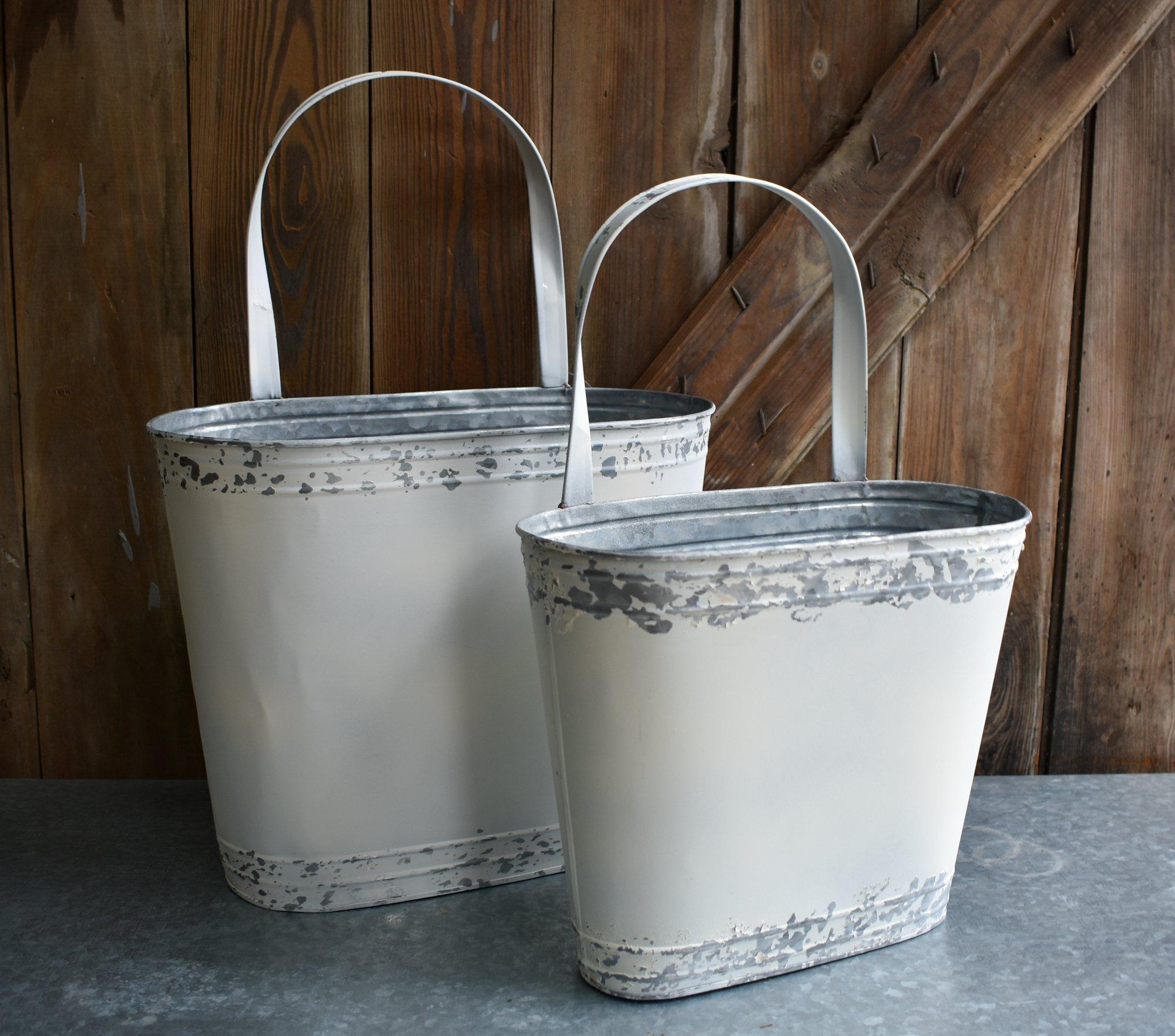 Galvanized Wall Bucket Set of 2 15''x21'', 12.5''x18''