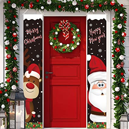 Christmas Door Hangings Santa Clause and Snowman Merry Christmas Hanging Banners for Porch Wall Window Christmas Decoration IKevan/_ Christmas Porch Sign 180x30CM Xmas Decor Banners