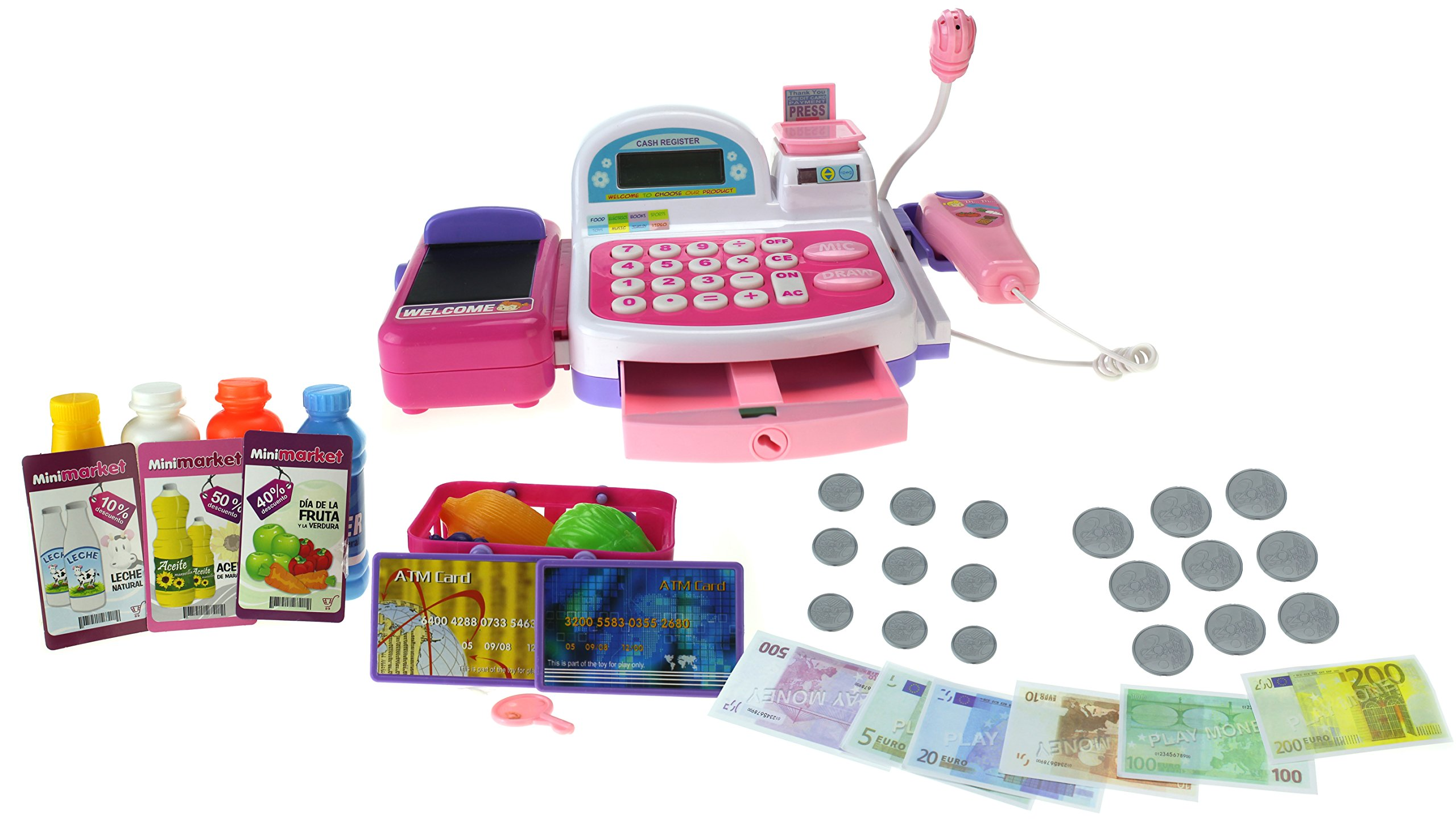 Mini Market Multi-Function Battery Operated Pink Toy Cash Register w/ Flashing Scanner, Working Mic, Knob Operated Belt, Credit Cards, Money, Basket, Food, Lights & Sounds