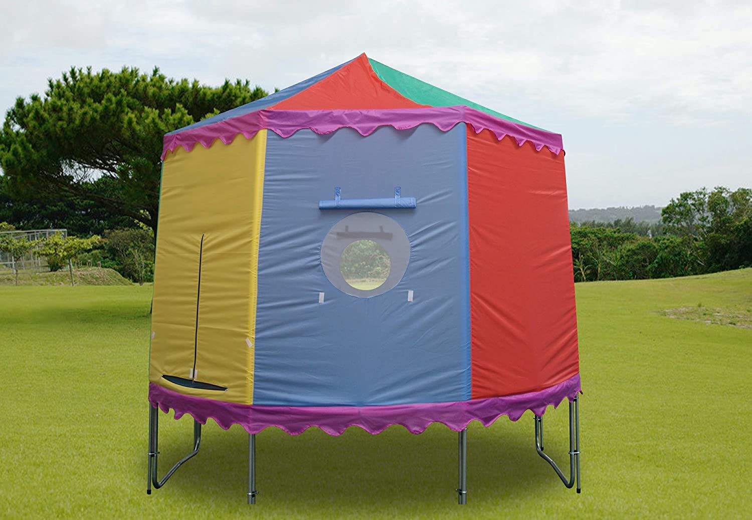 10 Ft Tr&oline Tent with 6 Poles - Circular Circus Style u0026 Fits Over Existing Tr&oline Enclosure Amazon.co.uk Sports u0026 Outdoors & 10 Ft Trampoline Tent with 6 Poles - Circular Circus Style u0026 Fits ...