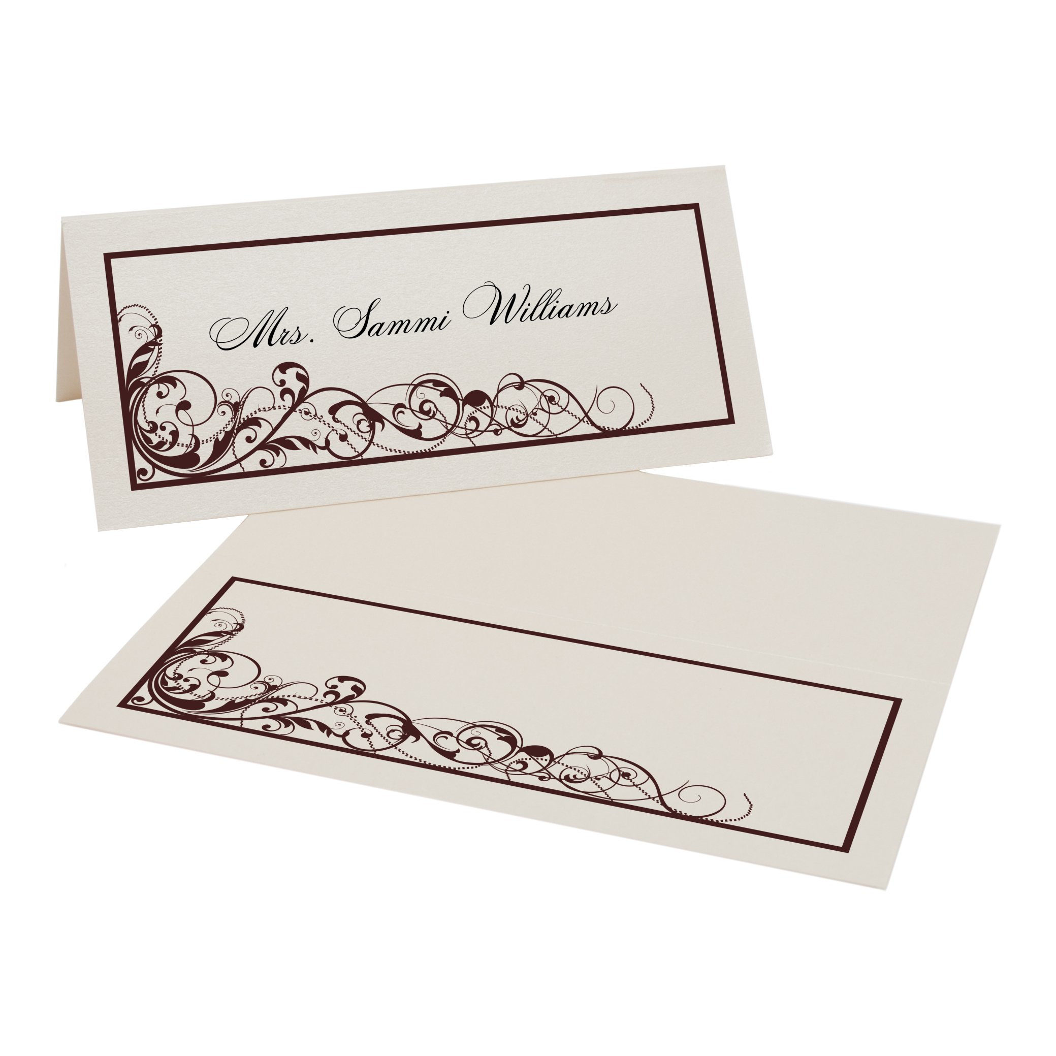 Scribble Vintage Swirl Place Cards, Champagne, Chocolate, Set of 375 by Documents and Designs