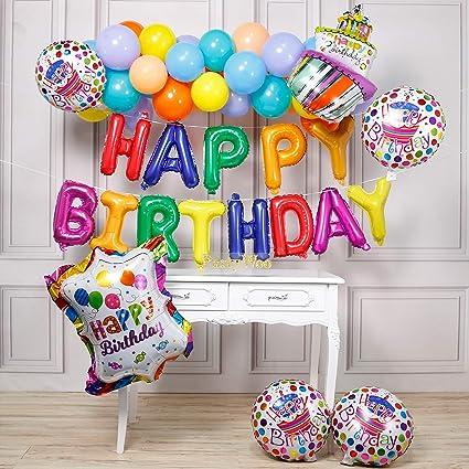 Amazon.com: PartyWoo - Globos de feliz cumpleaños, 37 ...