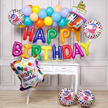 PartyWoo Foil Globos de Cumpleaños 37 Piezas Látex Globos de Helio Globos Brillantes Globo Foil para Cumpleaños Decoración Feliz Cumpleaños Decoracion ...