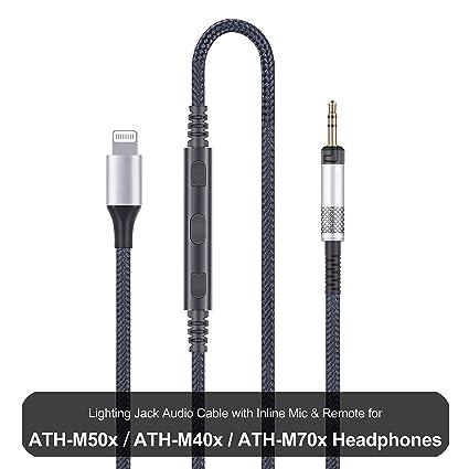 Cable for Audio Technica ATH-M50x ATH-M40x ATH-M70x headphones Remote volume Mic