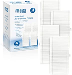 Fette Filter 4 Pack of HEPA Air Filter Compatible with Febreze FRF101B & Honeywell HRF-U HRF201B Filter U for Honeywell HHT270W & HHT290 Series & Febreze air Purifier Models FHT170W, FHT180W, FHT190W