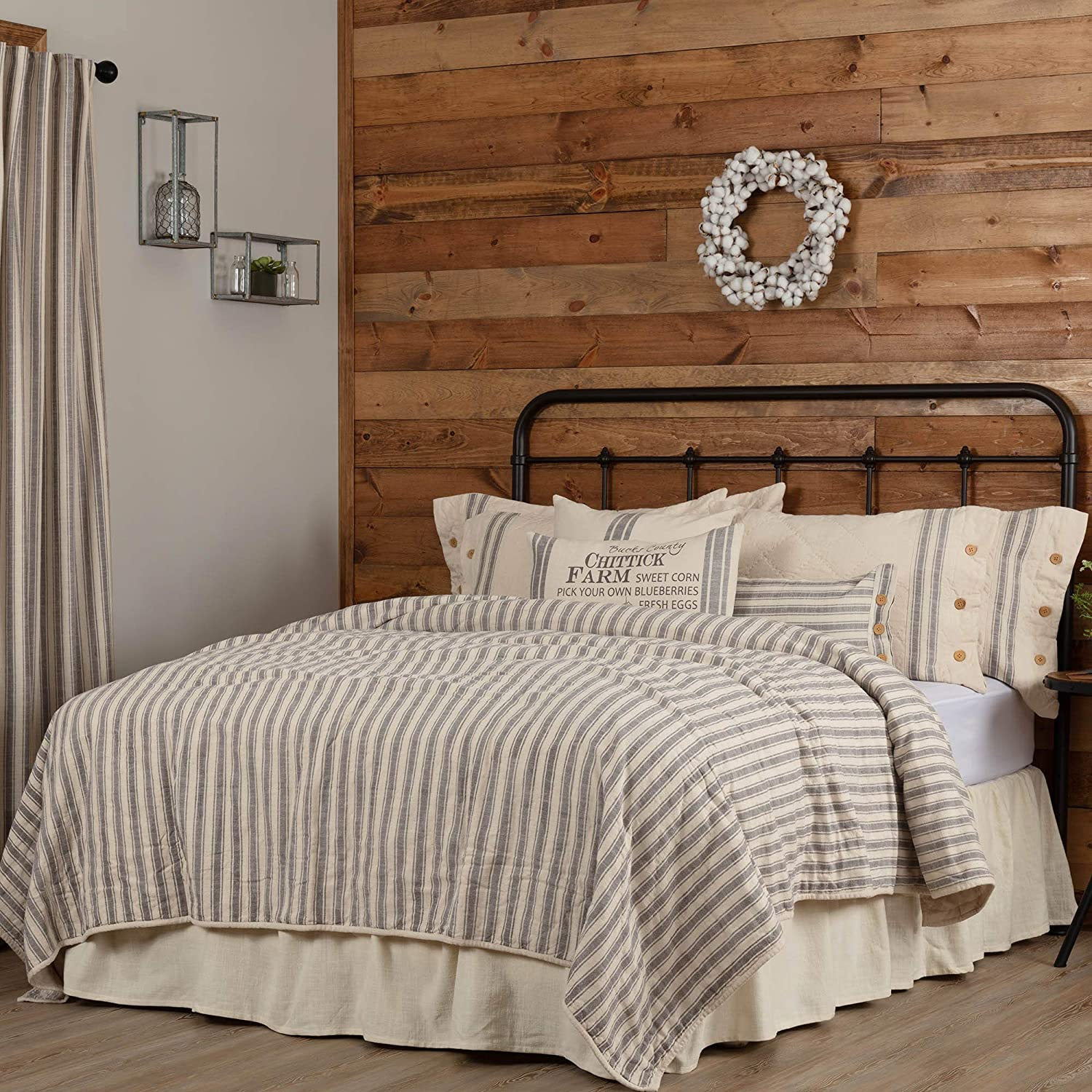 "Piper Classics Market Place Gray Ticking Stripe Quilt, Luxury King, 105"" x 120"", Oversized, Gray & Cream Quilted Farmhouse Style Bedding"