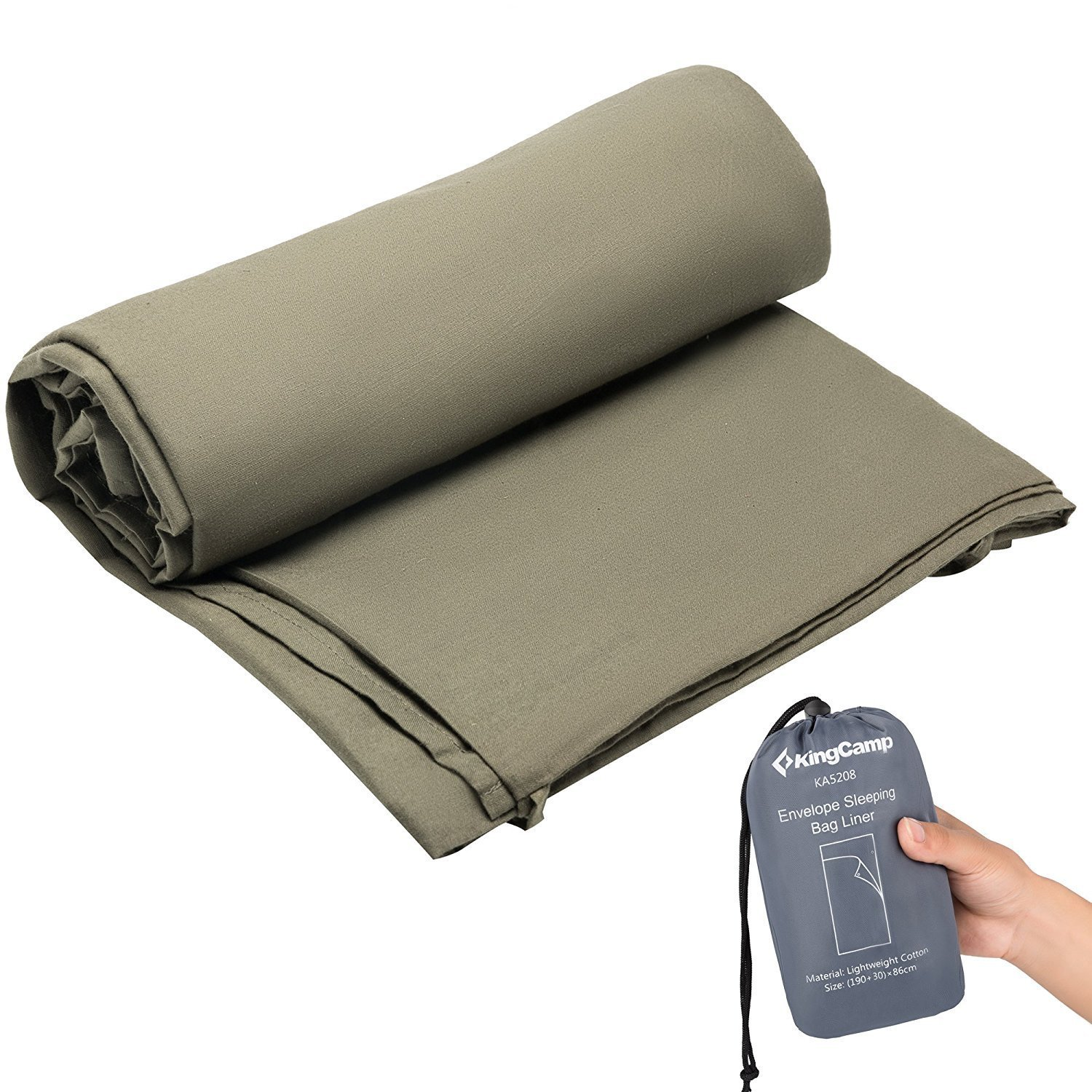 KingCamp Compact Portable Lightweight Soft Machine Washable High-Density Cotton Envelope Sleeping Bag Liner for Hotel and Camping, Travel Sheet and Sleeping Sack (Green)